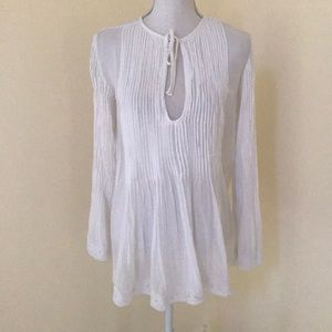Ecote' white small  L/S tunic top with tucks